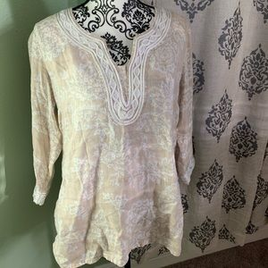 Charter Club Linen Paisley V neck Medium
